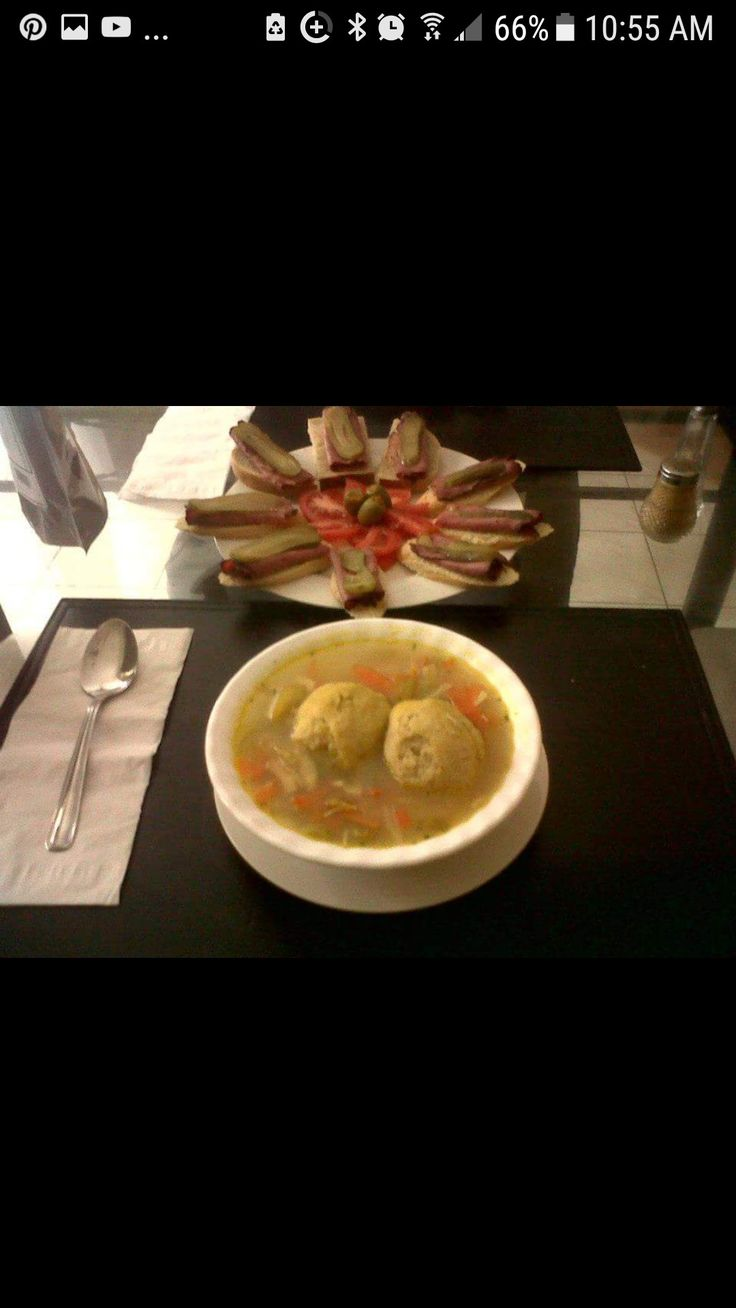Chicken Mozzaball Soup Served with Open Pastrami & Rye Sandwhiches