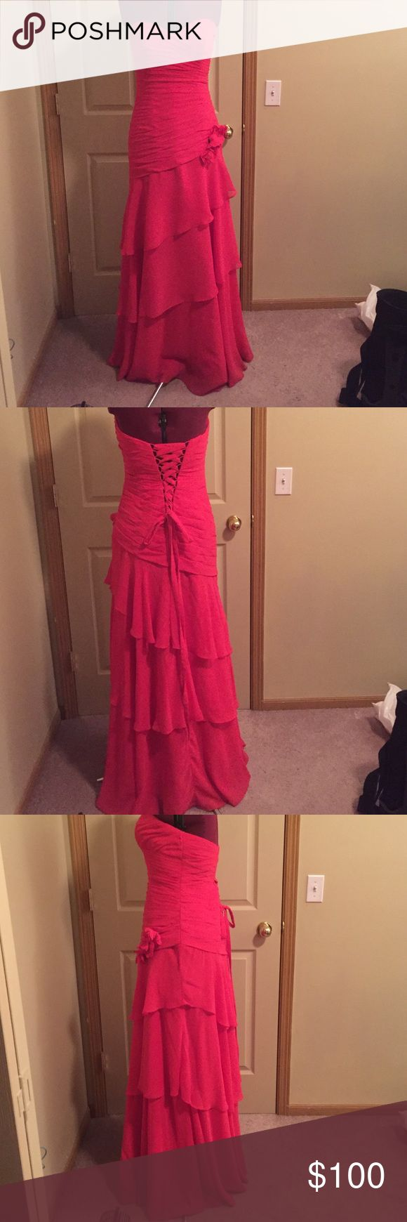 Elegant ball/prom dress Red ball gown, lace up corset is flirty and helps shape your form, and flaunt your curves, only worn once and in perfect condition, listed as size 11 fits more like a 9 Mari Lee Dresses Prom