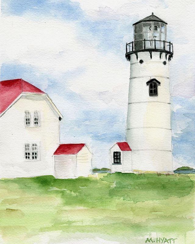 One Of My Latest Lighthouse Watercolors This Is Chatham Light On