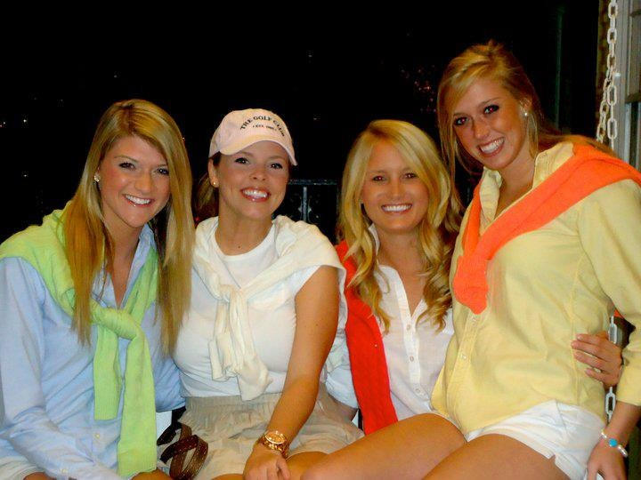 "Golf Events - ""Golf Pros and Tennis Hoes"" - white shorts and a preppy sweater tied over a polo"