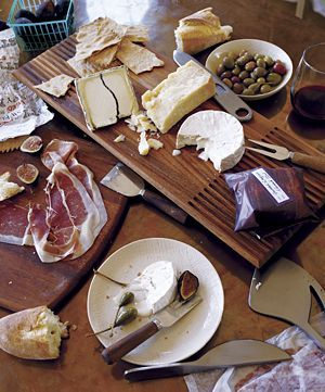 Set out meat and cheese tray in a stylish way