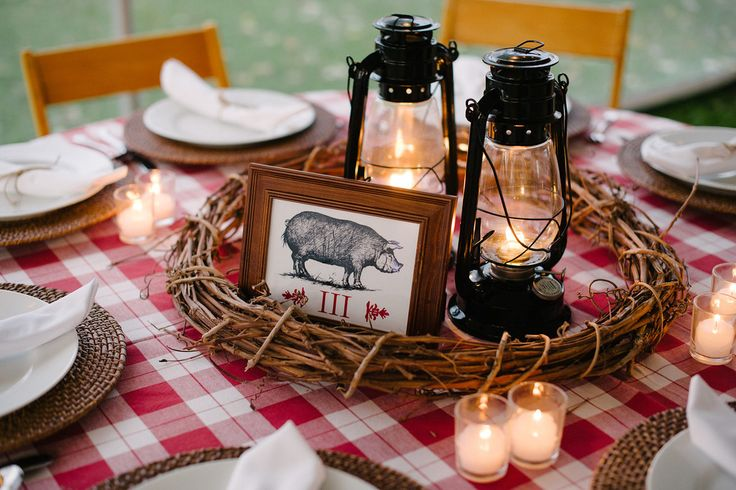 Grapevine Wreath, Lanterns, Pig, Gingham, BBQ, Rehearsal Dinner Photo: Sarah Cramer Shields