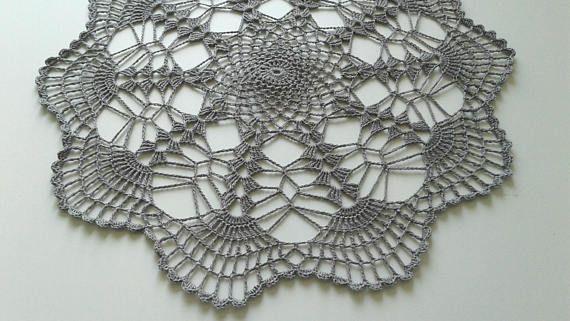 Handmade gray lace 12 inch doily