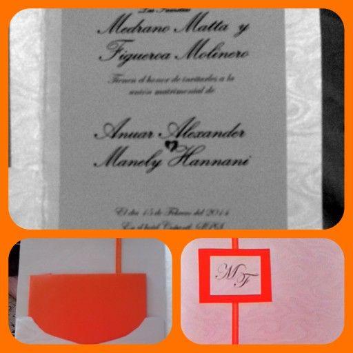 My wedding invitation! Orange, silver, white.  Mis invitaciones de boda. Blancas, gris y detalles en naranja con las iniciales de nuestros apellidos, y el sobre elaborado por nosotros en el color de la boda : naranja! Hermosas