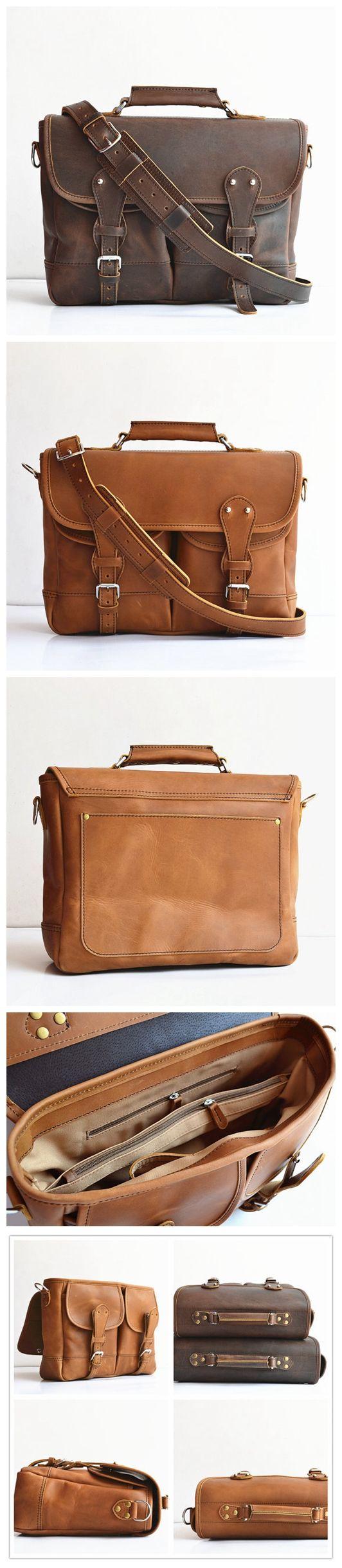 Handmade Men's Leather Briefcase Leather Angler Bag Fisher Man Bag Leather Messenger Bag Leather Satchel Leather MacBook Bag For Men Women