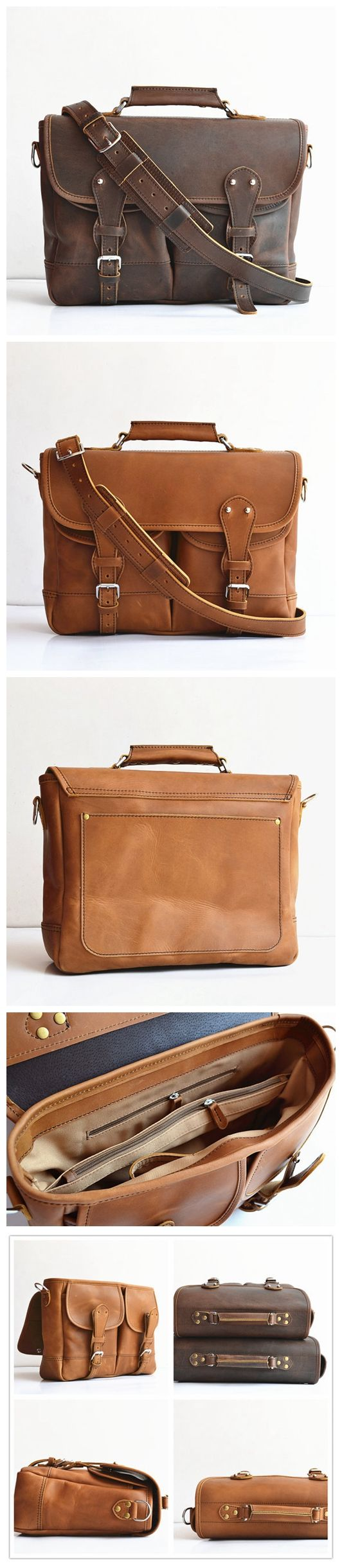 Handmade Men's Leather Briefcase Leather Angler Bag Fisher Man Bag Leather Messenger Bag Leather Satchel Leather MacBook Bag For Men Women