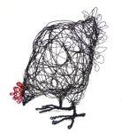 Worrall Hood - Scribbly wire hen sculpture.