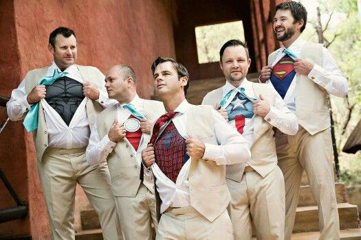 Superheroes wedding pic with my groomsmen. Our saw this on Pinterest, did it and now sharing it!