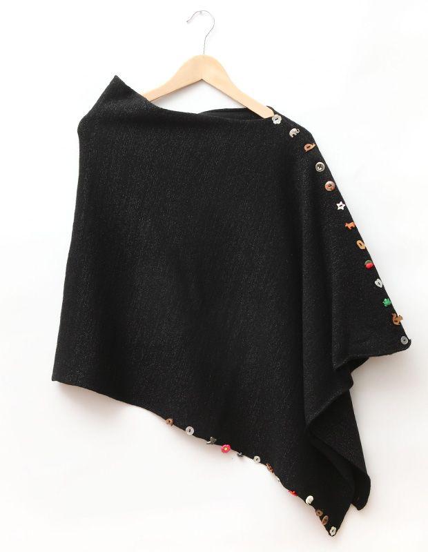 Black 3-in-1 Wrap -- wear it as a cape, shrug or wrap.