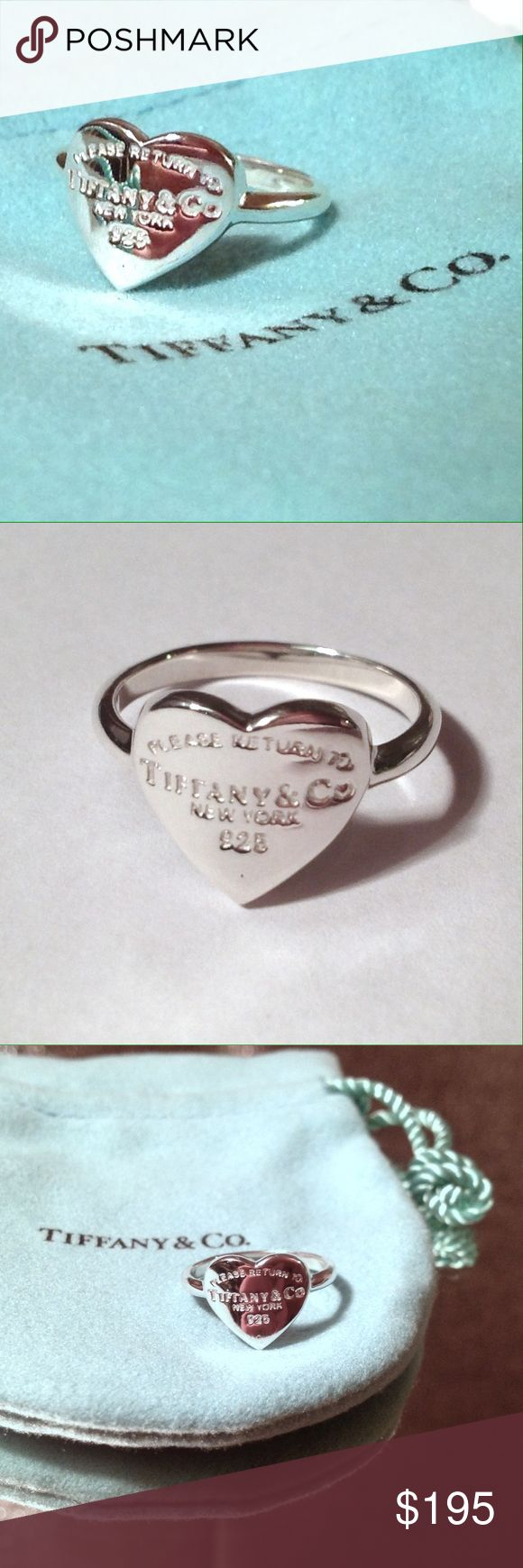 """Tiffany & Co. Heart Ring """"Return to Tiffany"""" NEW Tiffany & Co - Heart Ring - Return to Tiffany's.  New Sterling Silver 925 Tiffany & Co. ring.  Heart shape with """"IF FOUND PLEASE RETURN TO TIFFANY & CO. NEW YORK"""" engraved on the front. Tiffany & Co. jewelry pouch included. New - never worn. Love this style for #valentinesday it's a classic and no longer available through their website. Tiffany & Co. Jewelry Rings"""