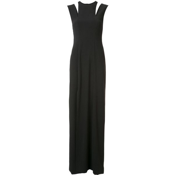 Halston Heritage shoulder slit detail gown (€210) ❤ liked on Polyvore featuring dresses, gowns, black, slit gown, halston heritage gown, halston heritage dress, slit dresses and halston heritage