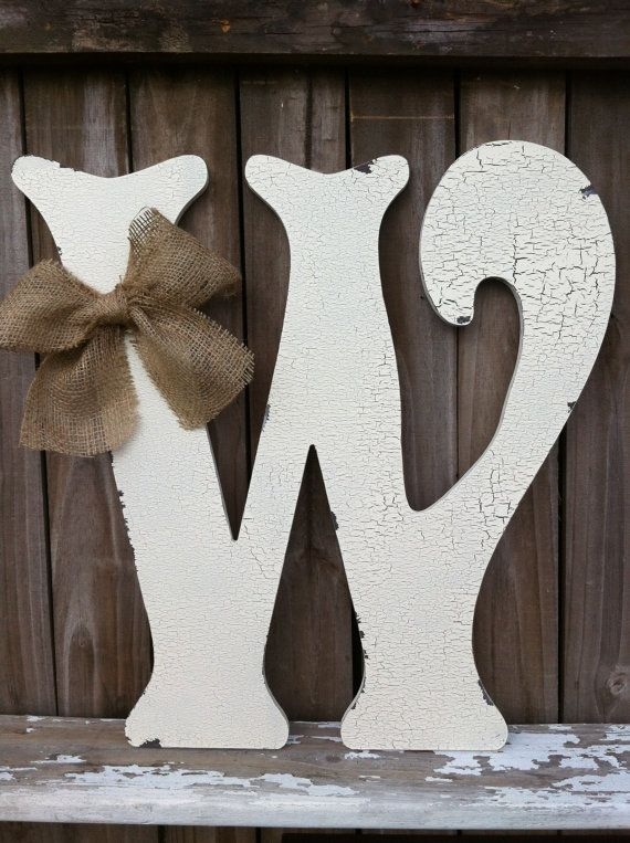 "Wooden Letter W 24"" tall Any Letter A - Z Vintage Style Letters - Wedding Guest Book Alternitive - Home Decor, Wedding Decor"