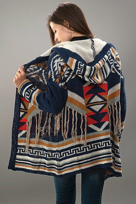 Tribal print cardigan with fringe. Slightly oversized fit. 100% acrylic. Navy color.
