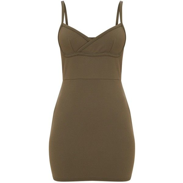 Olive Green Bust Panel Detail Bodycon Dress ($30) ❤ liked on Polyvore featuring dresses, panel bodycon dress, panel dress, brown dress, army green dress and body conscious dress