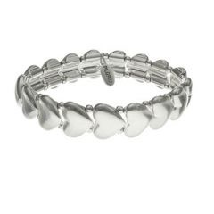 Pilgrim Classics Silver Plated Row Of Hearts Stretch Bracelet £28