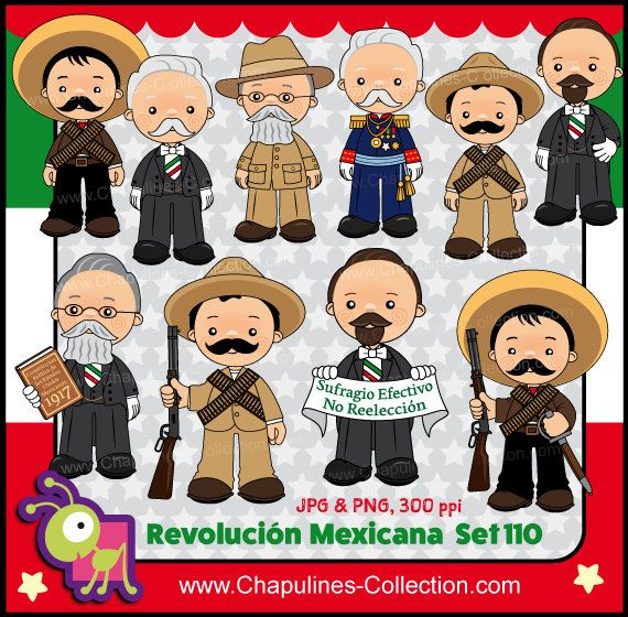 60% de desc. Revolución Mexicana Clipart por ChapulinesCollection