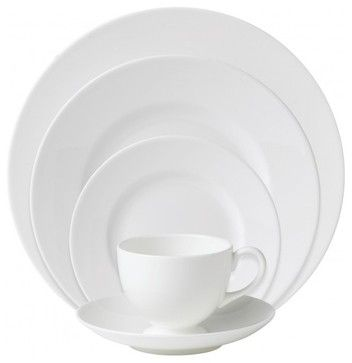 Wedgwood White 5 Piece Place Setting - traditional - Dinnerware Sets - HouseResort