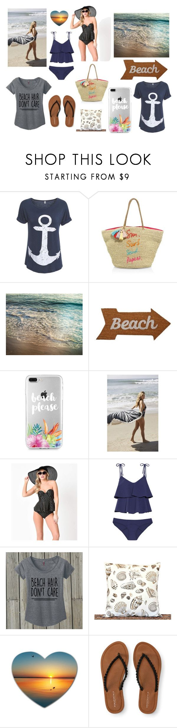 """BEACH!!"" by mad-fred ❤ liked on Polyvore featuring Rebecca Minkoff, Mud Pie, Urban Outfitters, Betsey Johnson, Lisa Marie Fernandez and Aéropostale"