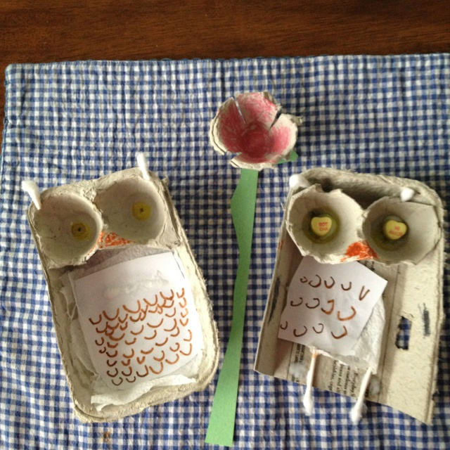 Egg carton owl and flower crafts
