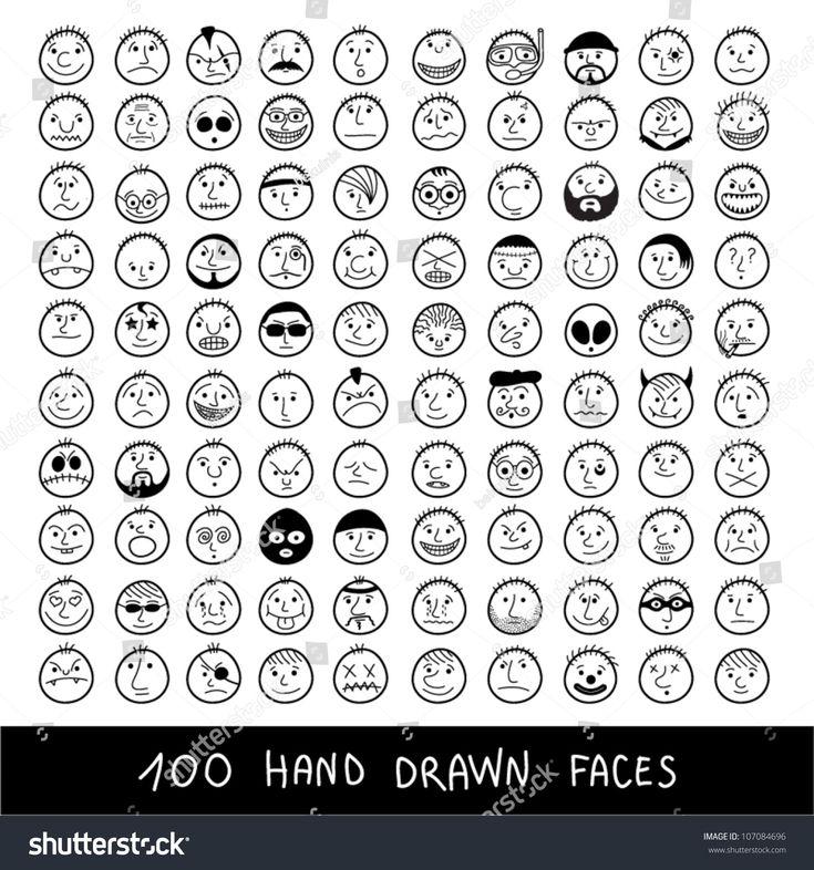 Huge Set Handdrawn Funny Cartoon Faces Stock Vector 107084696 ...