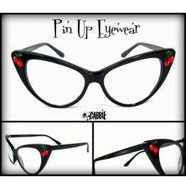 Pin Up Eyewear (Cherries) Vintage Retro Cat Eye Eyeglasses Frame Custom Painted