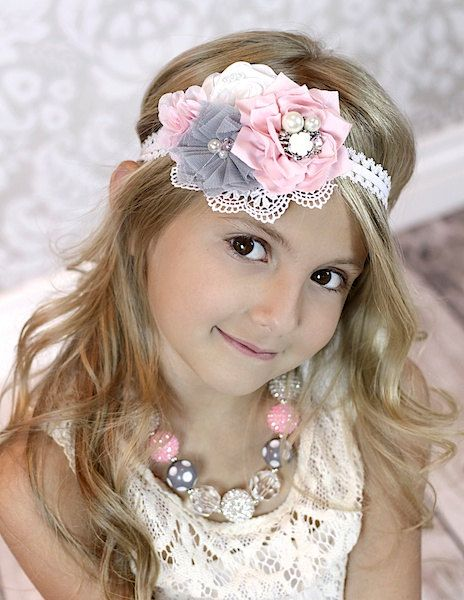 Grey/Pink Sparkle Headband Necklace Set Chunky by TheRitzBoutique