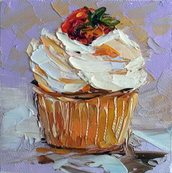 Cupcake Food Mini Small Oil Painting Cake Original Framed
