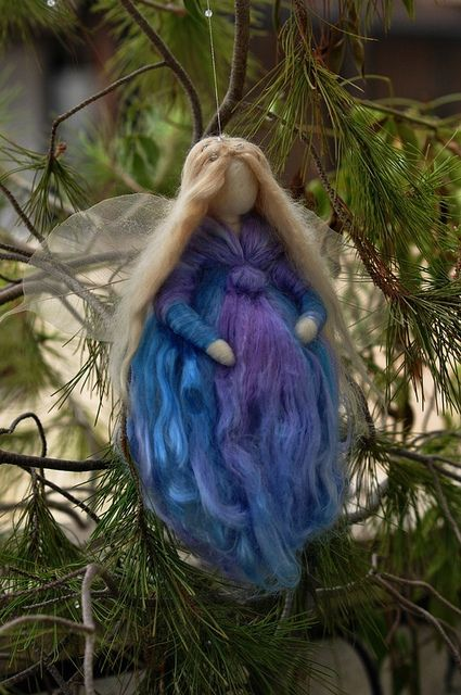 Needle felted Waldorf inspired wool Winter Frosty Fairy- Wall hanging Angel Ornament