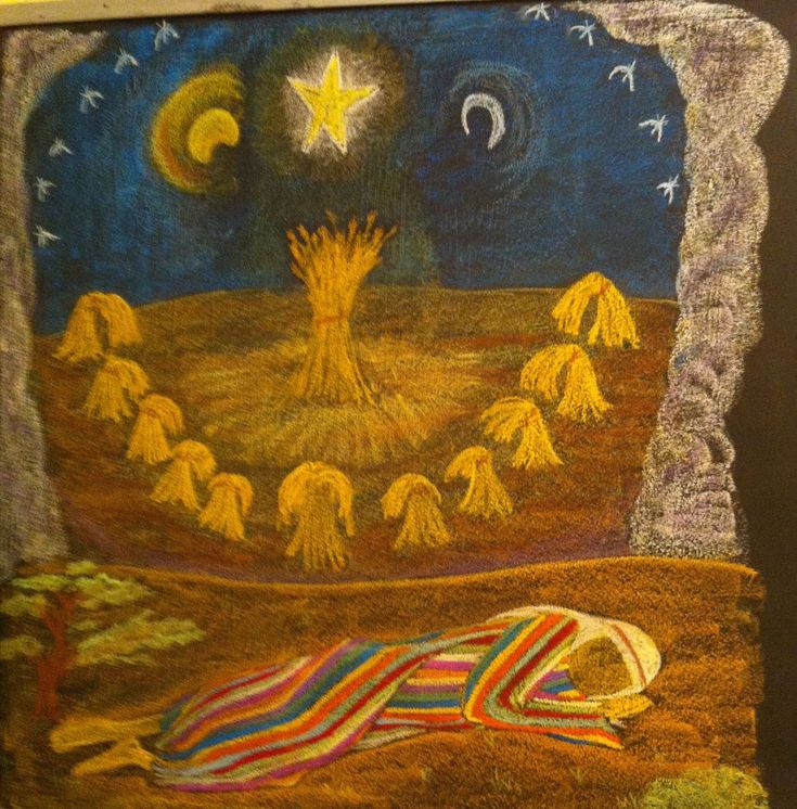 Age 09 ~ Old Testament Stories ~ Joseph's Dreams ~ chalkboard drawing