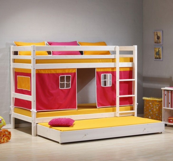 Marvelous Bedroom Designs, The Brilliant Yellow And Red Sensation Minnie Solid Pine  White Bunk Bed With