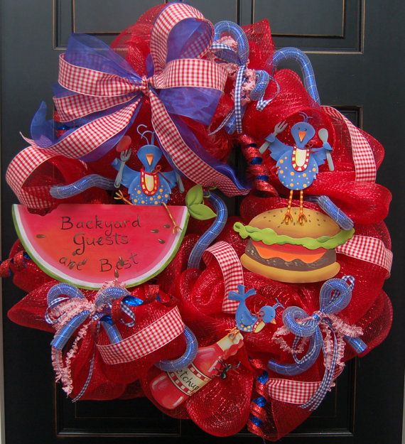 Backyard Picinic Barbeque Deco Mesh Wreath 4th of July
