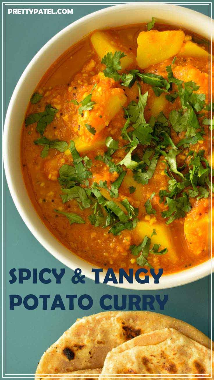potato & tomato curry, batata rassa, gujarati recipe, indian curry, vegan, gluten free, vegetarian l www.prettypatel.com