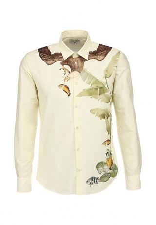Рубашка светло-желтого цвета с длинными рукавами от Paul & Joe декорирована анималистичным принтом с изображением охотящегося орла. Модель выполнена из хлопкового трикотажа. Особенности: прямой крой, плотный отложной воротник, застегивается на пуговицы. http://j.mp/1rQiosx