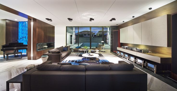 living room with Kreon Regard double and Prologe 80 double luminaires
