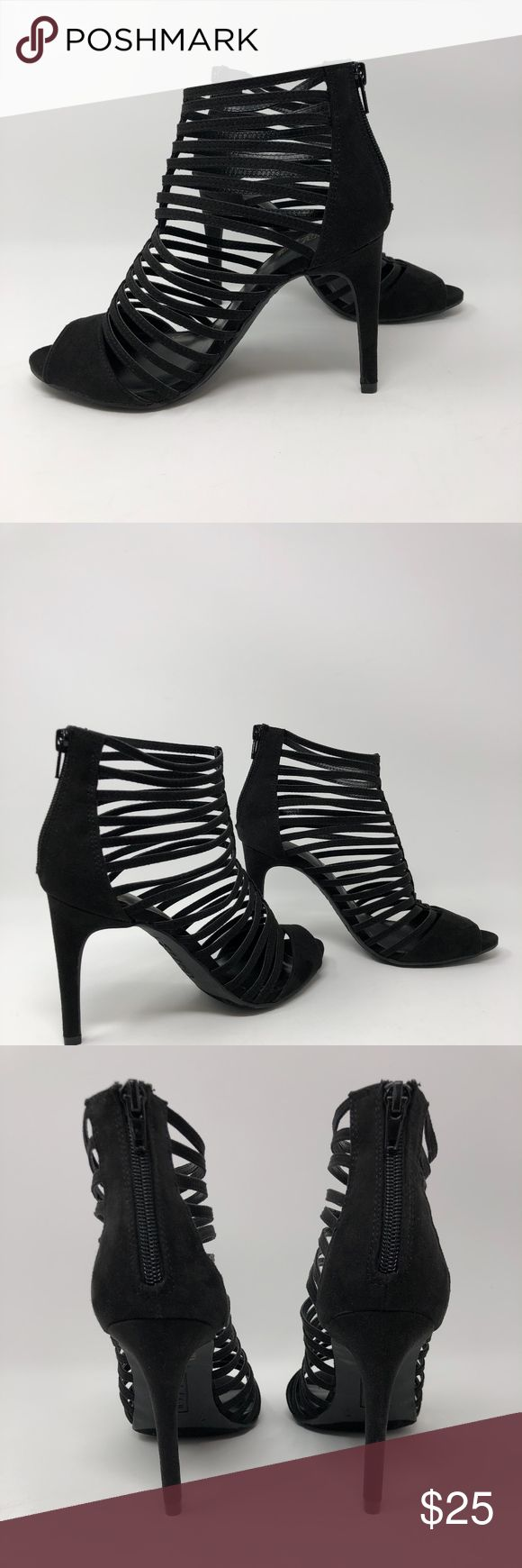 """Brash Black Open Toe Strappy Caged Heels Sandals Brash Black Open Toe Strappy Caged Heels Sandals  Sz 7  Zipper back closure Faux Suede Rubber sole 4"""" inch heel  Great condition and very cute  Shows slight signs of wear on the soles as shown on photos.  ***Please check all pics to properly assess the condition  ***There is no box. The shoes will either be bubbled wrapped or sent in an old shoe box of mine. Brash Shoes Heels"""