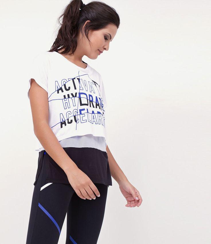 Camiseta feminina  Modelo esportiva  Manga curta  Gola redonda  Com estampa  Marca: Get Over  Tecido: viscose  Modelo veste tamanho: P     Medidas da modelo:     Altura: 1,73  Busto: 89  Cintura: 60  Quadril: 90     COLEÇÃO INVERNO 2017     Veja outras opções de    produtos esportivos   .