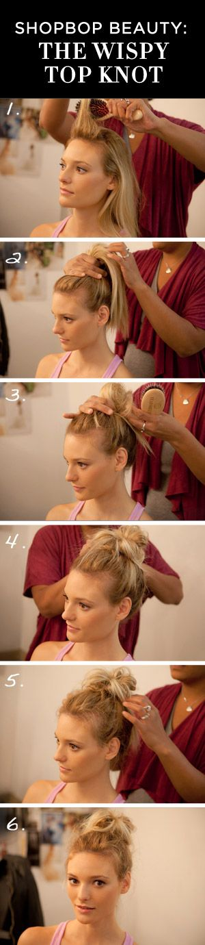 Top Knot How To.: Messy Bun, Messy Top Knots, Wispy Top, Tops, Whispy Top Knot, Hairstyles Me, Hairstyles 3, Sloppy Bun Hairstyles, Hair Style