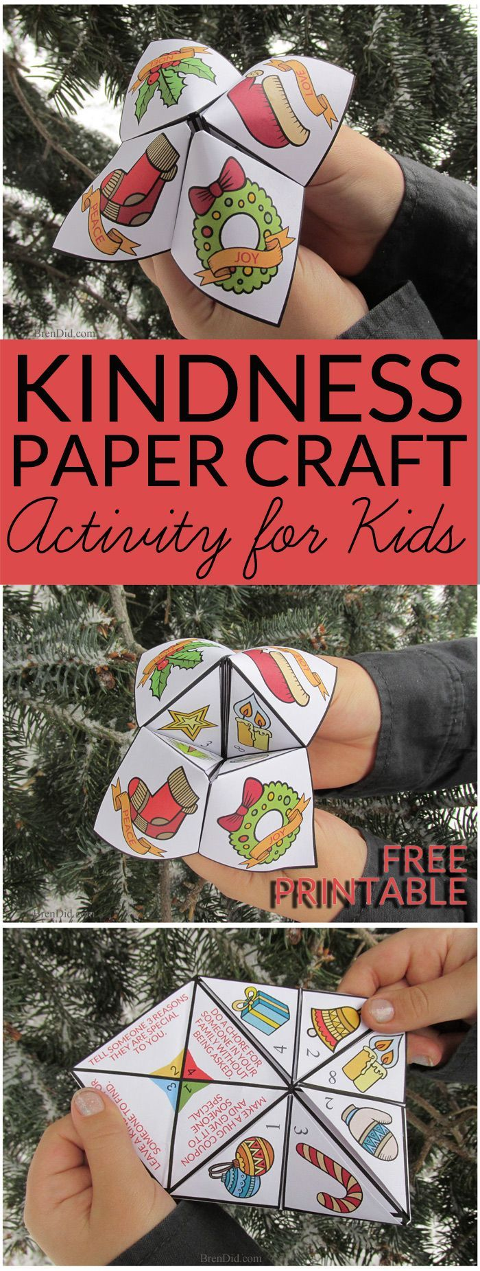 Encourage a spirit of generosity & giving in children with this giving activity for kids. This easy Christmas craft is a free printable Random Acts of Kindness for Kids Christmas Cootie Catcher. Learn how to fold a cootie catcher / paper fortune teller. ,  Teresa Jaquith