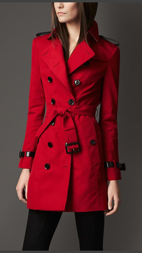 Mid-Length Technical Cotton Double Gun Flap Trench Coat   Burberry