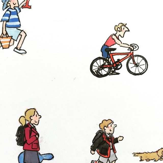 Character studies of local Portsmouth residents ✏️ #portsmouth #southsea #alisongardiner #portsmouth #southseabeach #cyclist #uniform #lovesouthsea #southseavibes #illustration #design #character #sketch #gouache #paint #ink #doodle #illustrator