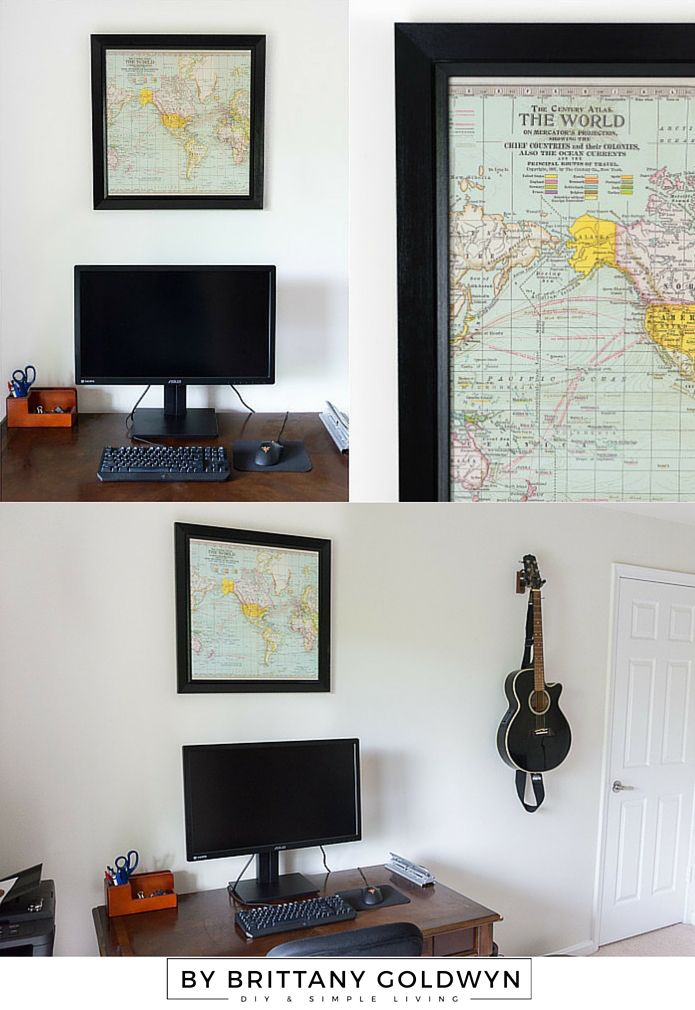 See how I used Americana Decor Satin Enamels in Classic Black + a map print to make over this old bulletin board!