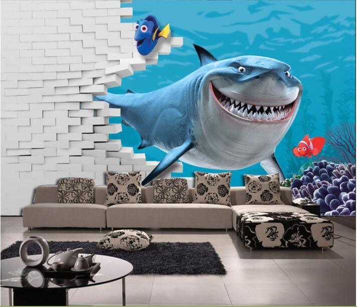 3d wallpaper custom mural non-woven 3d room wallpaper 3 d sea world shark TV setting wall  murals photo 3d wall mural wallpaper #Affiliate