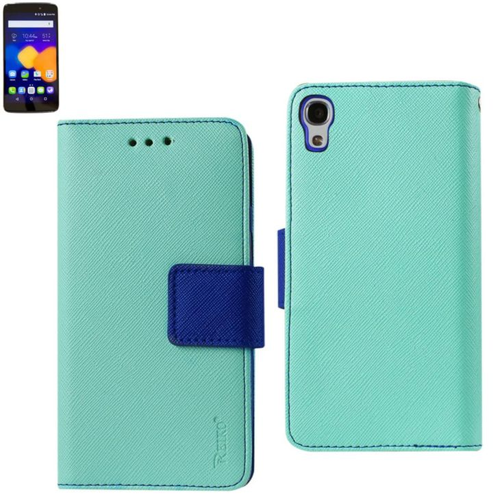 Reiko Wallet Case 3 In 1 For Alcatel Onetouch Idol 3 5.5Inches Green With Interior Leather-Like Material & Polymer Cover