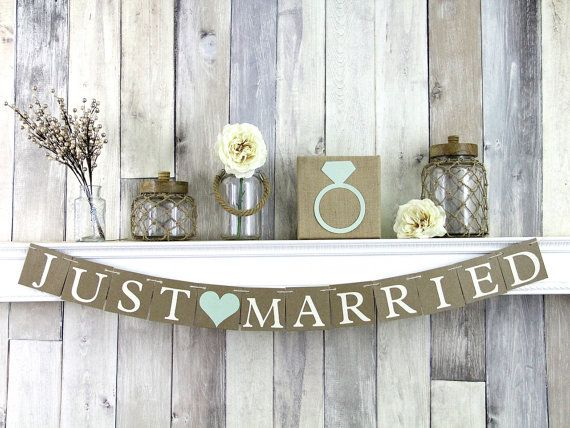 Just Married Banner Rustic Wedding Decor Just by WeddingBannerLove