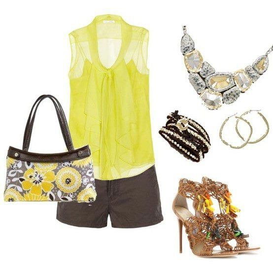 Yellow? Spring fashion Skirt purse from thirty-one blouse and denim shorts with fashion jewelry and heels!  With purchase of $31 in April get this bag for just $22.50 www.mythirtyone.com/dianecaudill