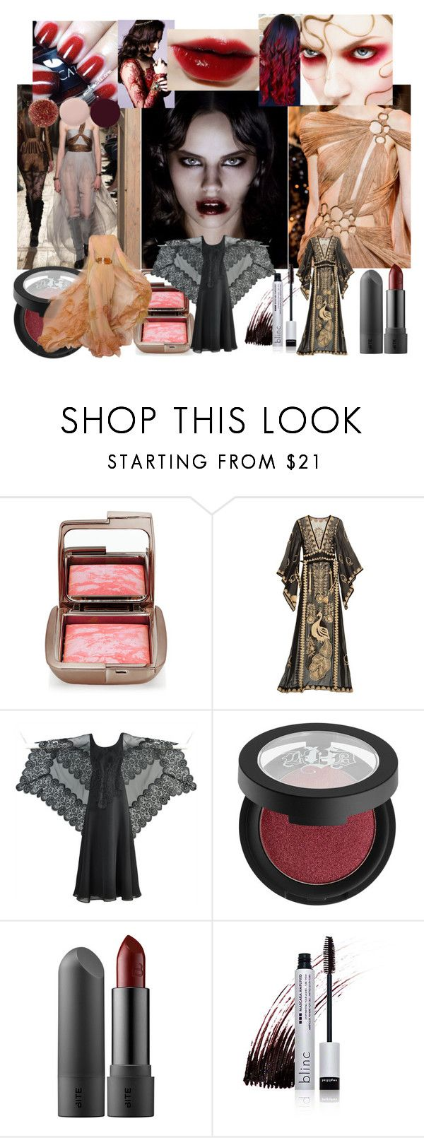 """""""The Devourer"""" by verysmallgoddess ❤ liked on Polyvore featuring beauty, Hourglass Cosmetics, Calypso St. Barth, Ruben Panis, Kat Von D, Stephane Rolland, Blinc, Nails Inc., Sexy and redandblack"""