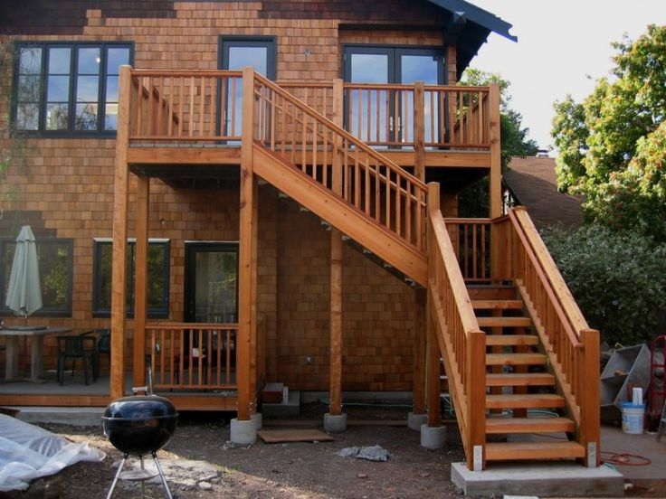 Exterior:Exterior Beautiful Deck With Stair Design For Outdoor Living Space Decoration With Brown Wood Handrail Brick Wall Exterior Design A...