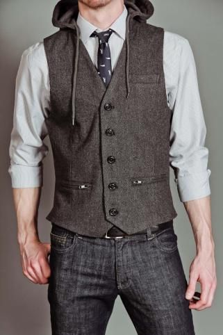 Men's Fashion: Charcoal Hoodie Vest / Hooded Waistcoat, Grey Shirt, Tie &