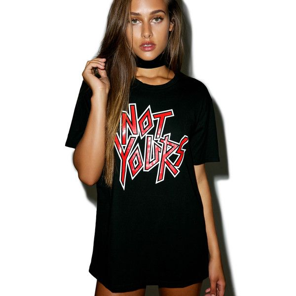 Motel Not Yours Tee (€25) ❤ liked on Polyvore featuring tops, t-shirts, relax t shirt, rock and roll t shirts, relaxed fit tops, short sleeve t shirt and rock n roll t shirts
