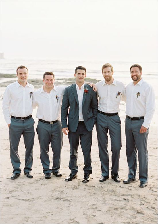 Clean, crisp groomsmen's outfits.